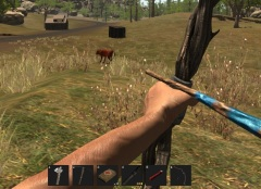 Bow hunting red animals in Rust.
